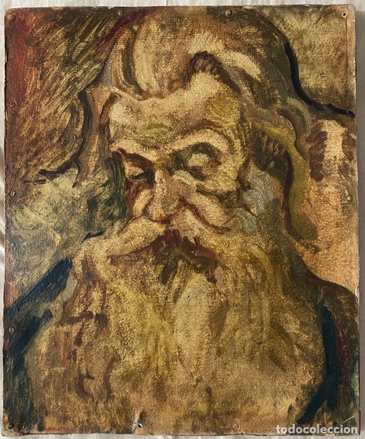 ÓLEO SOBRE CARTÓN , COMIENZOS S. XX , PERSONAJE A INVESTIGAR , OBRA SIN FIRMAR (Arte - Arte Religioso - Pintura Religiosa - Oleo)