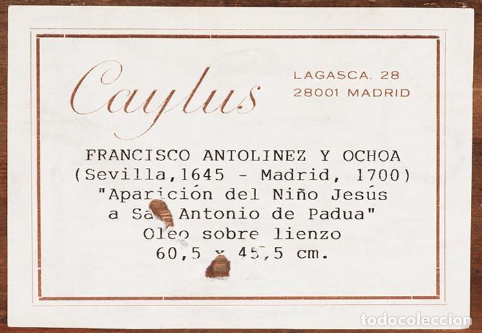 Arte: FRANCISCO ANTOLÍNEZ Y OCHOA Magnífico Óleo sobre lienzo con etiqueta de la Galería Caylus Enmarcado - Foto 4 - 195498620