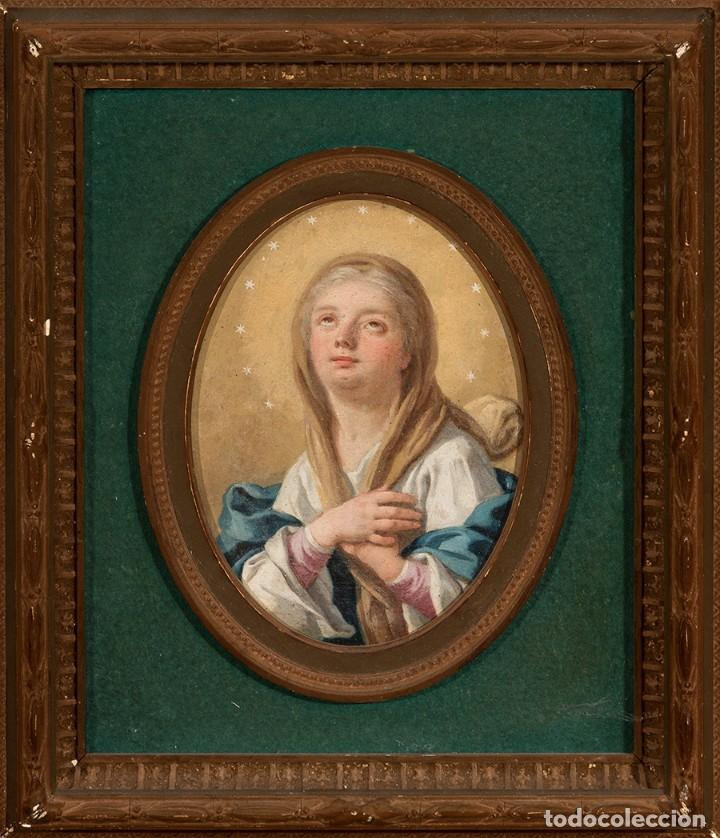 Arte: FRANCESCO DE MURA (ITALIAN, 1696 - 1782) Vergine Immacolata oil on copper Virgen Inmaculada - Foto 2 - 153659170