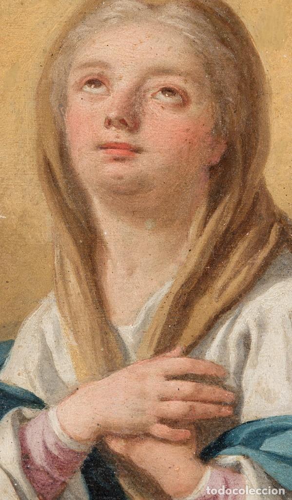 Arte: FRANCESCO DE MURA (ITALIAN, 1696 - 1782) Vergine Immacolata oil on copper Virgen Inmaculada - Foto 4 - 153659170
