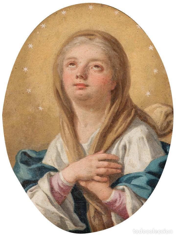 Arte: FRANCESCO DE MURA (ITALIAN, 1696 - 1782) Vergine Immacolata oil on copper Virgen Inmaculada - Foto 9 - 153659170