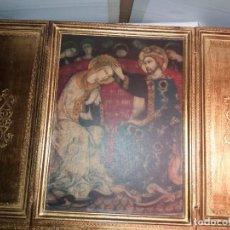 Arte: ICONO RELIGIOSO, TRIPTICO, MADERA DORADA. 63 X 44 CM ABIERTO, 31,5 X 44 CM CERRADO. VER FOTOS.. Lote 210686230