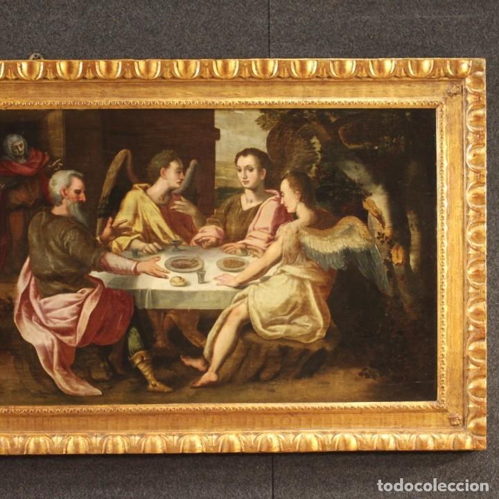 Arte: Pintura flamenca antigua Abraham y los tres ángeles del siglo XVIII - Foto 2 - 210718512