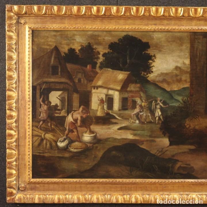 Arte: Pintura flamenca antigua Abraham y los tres ángeles del siglo XVIII - Foto 3 - 210718512