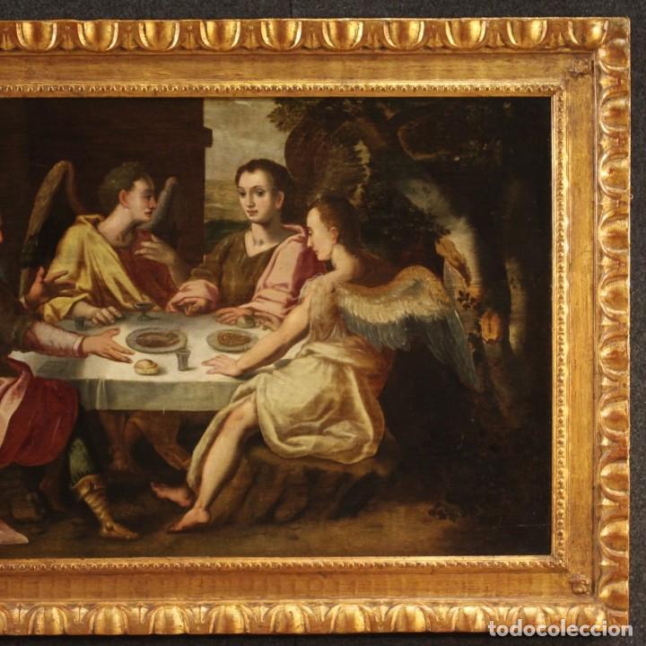 Arte: Pintura flamenca antigua Abraham y los tres ángeles del siglo XVIII - Foto 4 - 210718512