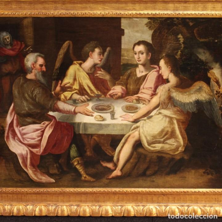 Arte: Pintura flamenca antigua Abraham y los tres ángeles del siglo XVIII - Foto 5 - 210718512