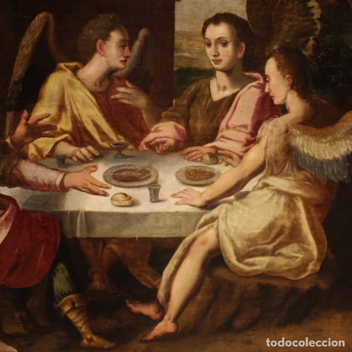 Arte: Pintura flamenca antigua Abraham y los tres ángeles del siglo XVIII - Foto 6 - 210718512