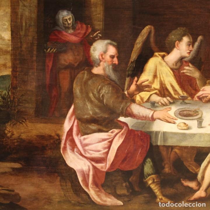 Arte: Pintura flamenca antigua Abraham y los tres ángeles del siglo XVIII - Foto 7 - 210718512