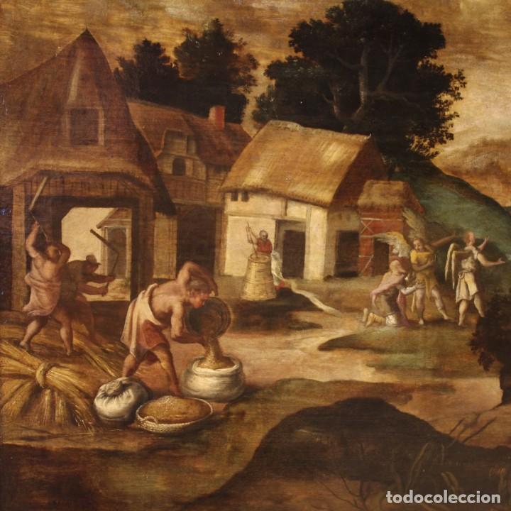 Arte: Pintura flamenca antigua Abraham y los tres ángeles del siglo XVIII - Foto 8 - 210718512