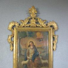 Arte: ANTIGUO ÓLEO SOBRE TELA - VIRGEN CON CORDEROS (DIVINA PASTORA) - MARCO ORIGINAL DE ÉPOCA - S. XVIII. Lote 210764360
