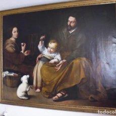 Arte: LA SAGRADA FAMILIA DEL PAJARITO ,OLEO LIENZO, XVIII, 185X150 MARCO DE 75 MM.. Lote 210792200