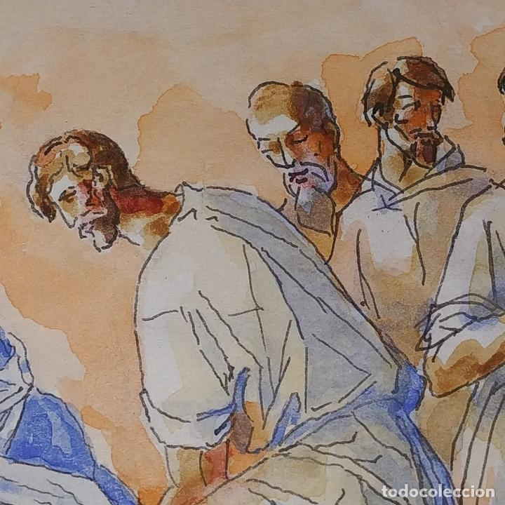 Arte: ESCENA BÍBLICA. ACUARELA SOBRE PAPEL. ATRIBUIDO AL PINTOR GORGUES. ESPAÑA. SIGLO XX - Foto 3 - 210813979