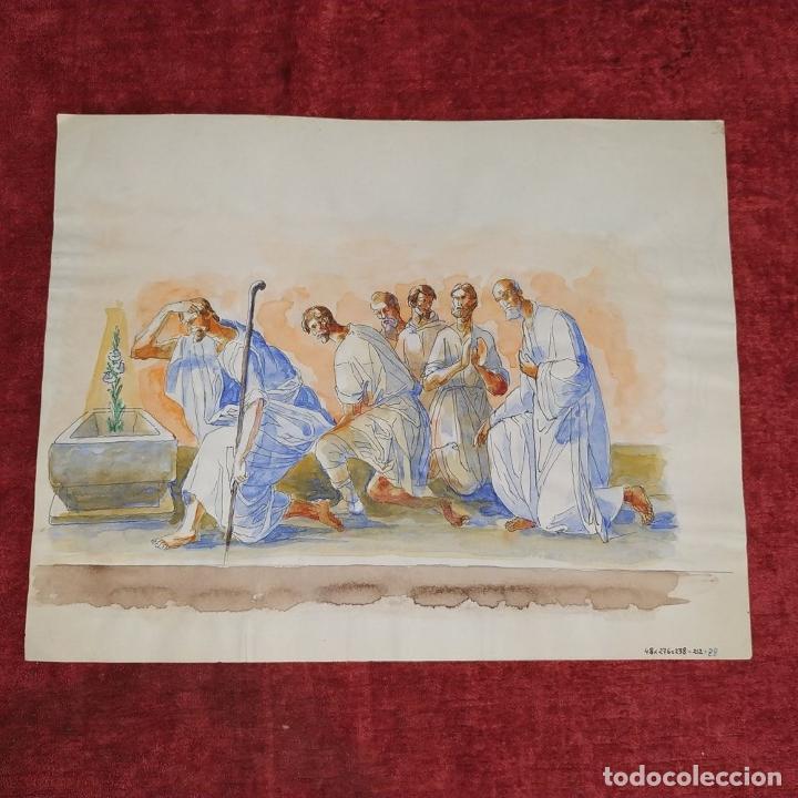 Arte: ESCENA BÍBLICA. ACUARELA SOBRE PAPEL. ATRIBUIDO AL PINTOR GORGUES. ESPAÑA. SIGLO XX - Foto 5 - 210813979