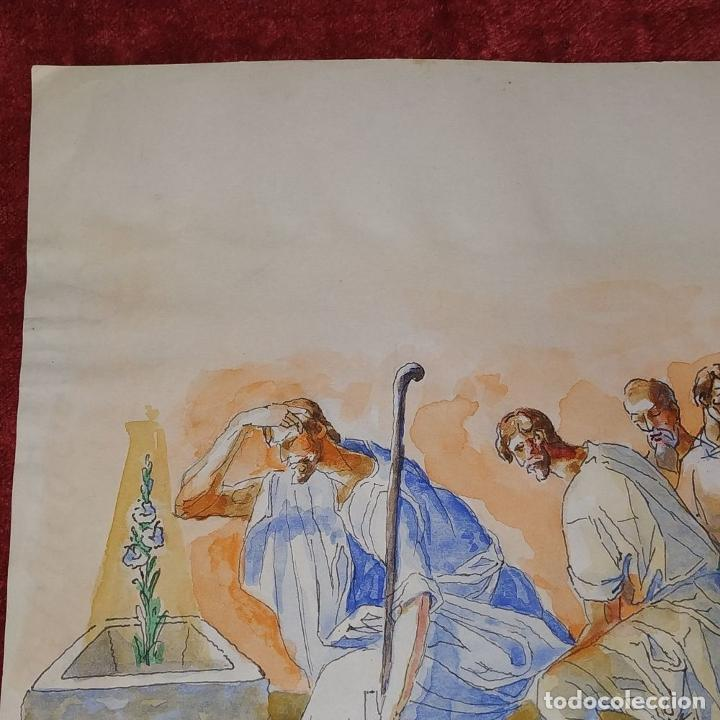 Arte: ESCENA BÍBLICA. ACUARELA SOBRE PAPEL. ATRIBUIDO AL PINTOR GORGUES. ESPAÑA. SIGLO XX - Foto 7 - 210813979