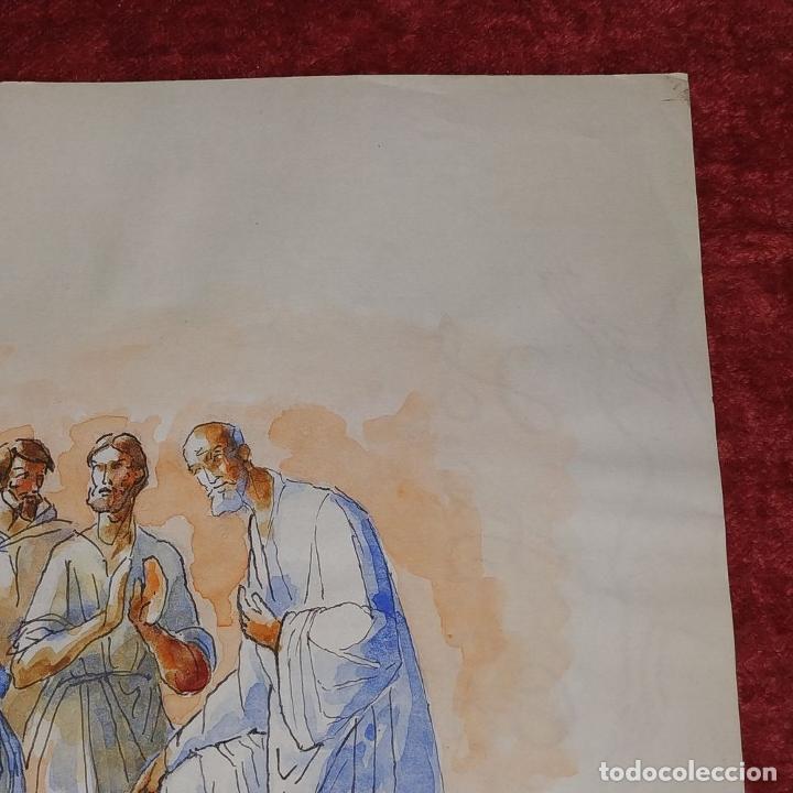 Arte: ESCENA BÍBLICA. ACUARELA SOBRE PAPEL. ATRIBUIDO AL PINTOR GORGUES. ESPAÑA. SIGLO XX - Foto 8 - 210813979