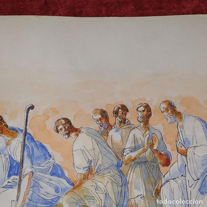 Arte: ESCENA BÍBLICA. ACUARELA SOBRE PAPEL. ATRIBUIDO AL PINTOR GORGUES. ESPAÑA. SIGLO XX - Foto 9 - 210813979
