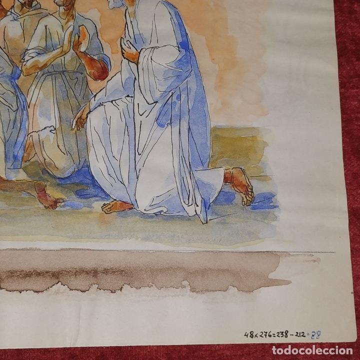 Arte: ESCENA BÍBLICA. ACUARELA SOBRE PAPEL. ATRIBUIDO AL PINTOR GORGUES. ESPAÑA. SIGLO XX - Foto 10 - 210813979