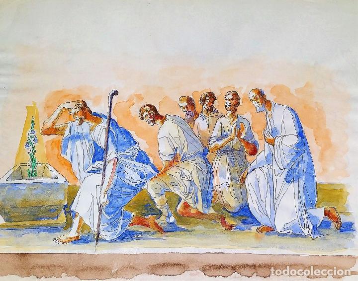 ESCENA BÍBLICA. ACUARELA SOBRE PAPEL. ATRIBUIDO AL PINTOR GORGUES. ESPAÑA. SIGLO XX (Arte - Arte Religioso - Pintura Religiosa - Acuarela)