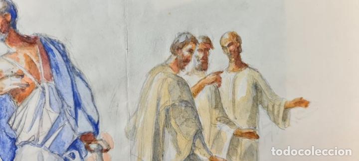 Arte: ESCENA BÍBLICA. ACUARELA SOBRE PAPEL. ATRIBUIDO AL PINTOR GORGUES. ESPAÑA. SIGLO XX - Foto 3 - 210822575