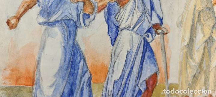 Arte: ESCENA BÍBLICA. ACUARELA SOBRE PAPEL. ATRIBUIDO AL PINTOR GORGUES. ESPAÑA. SIGLO XX - Foto 6 - 210822575
