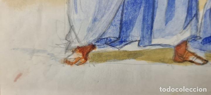 Arte: ESCENA BÍBLICA. ACUARELA SOBRE PAPEL. ATRIBUIDO AL PINTOR GORGUES. ESPAÑA. SIGLO XX - Foto 7 - 210822575