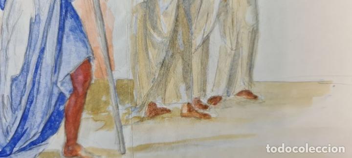 Arte: ESCENA BÍBLICA. ACUARELA SOBRE PAPEL. ATRIBUIDO AL PINTOR GORGUES. ESPAÑA. SIGLO XX - Foto 8 - 210822575