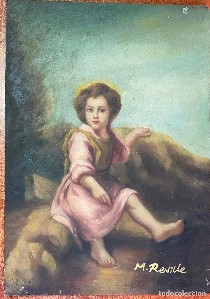 ÓLEO SOBRE TABLA , FIRMADO M. REVILLE , COPIA DE MURILLO (Arte - Arte Religioso - Pintura Religiosa - Oleo)