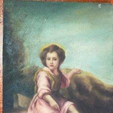 Arte: ÓLEO SOBRE TABLA , FIRMADO M. REVILLE , COPIA DE MURILLO. Lote 210826832