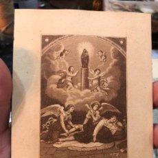 Arte: MINIATURA MAGNIFICO GRABADO VIRGEN DEL PILAR DE ZARAGOZA SOBRE UN MILAGRO EN EL AÑO 1640 - 12X9 CM. Lote 210827219