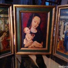 Arte: TRÍPTICO RELIGIOSO DE VIRGEN CON NIÑO JESÚS EN MADERA.. Lote 210831769