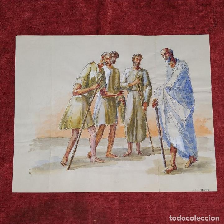 Arte: ABRAHAM Y LOS TRES ÁNGELES. ACUARELA SOBRE PAPEL. ATRIBUIDO A GORGUES. CIRCA 1950 - Foto 2 - 210934745