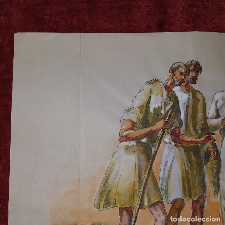 Arte: ABRAHAM Y LOS TRES ÁNGELES. ACUARELA SOBRE PAPEL. ATRIBUIDO A GORGUES. CIRCA 1950 - Foto 3 - 210934745