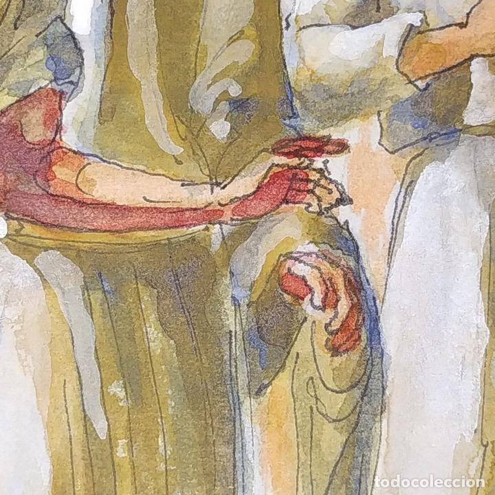 Arte: ABRAHAM Y LOS TRES ÁNGELES. ACUARELA SOBRE PAPEL. ATRIBUIDO A GORGUES. CIRCA 1950 - Foto 4 - 210934745