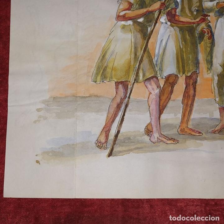 Arte: ABRAHAM Y LOS TRES ÁNGELES. ACUARELA SOBRE PAPEL. ATRIBUIDO A GORGUES. CIRCA 1950 - Foto 5 - 210934745