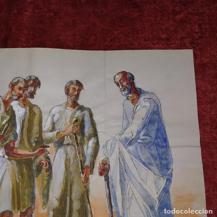 Arte: ABRAHAM Y LOS TRES ÁNGELES. ACUARELA SOBRE PAPEL. ATRIBUIDO A GORGUES. CIRCA 1950 - Foto 6 - 210934745