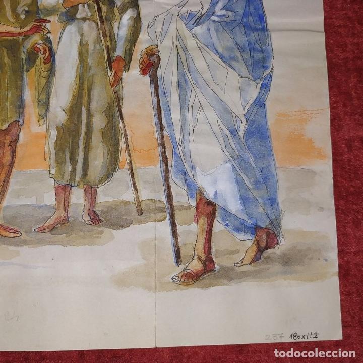 Arte: ABRAHAM Y LOS TRES ÁNGELES. ACUARELA SOBRE PAPEL. ATRIBUIDO A GORGUES. CIRCA 1950 - Foto 7 - 210934745