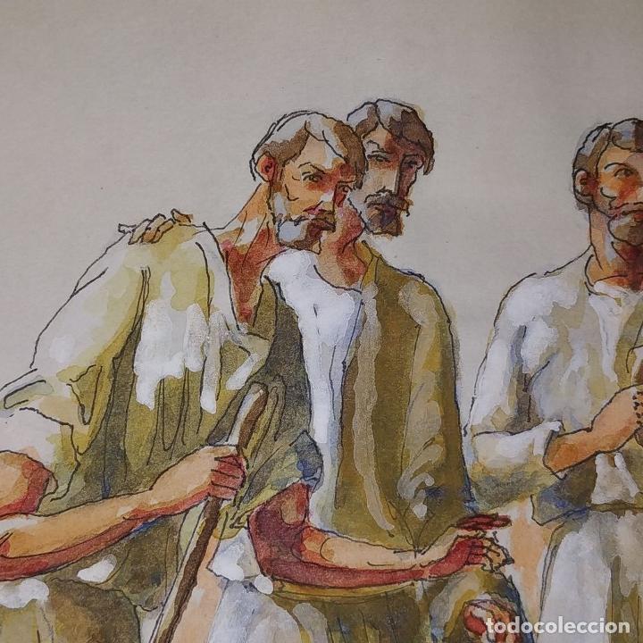 Arte: ABRAHAM Y LOS TRES ÁNGELES. ACUARELA SOBRE PAPEL. ATRIBUIDO A GORGUES. CIRCA 1950 - Foto 8 - 210934745