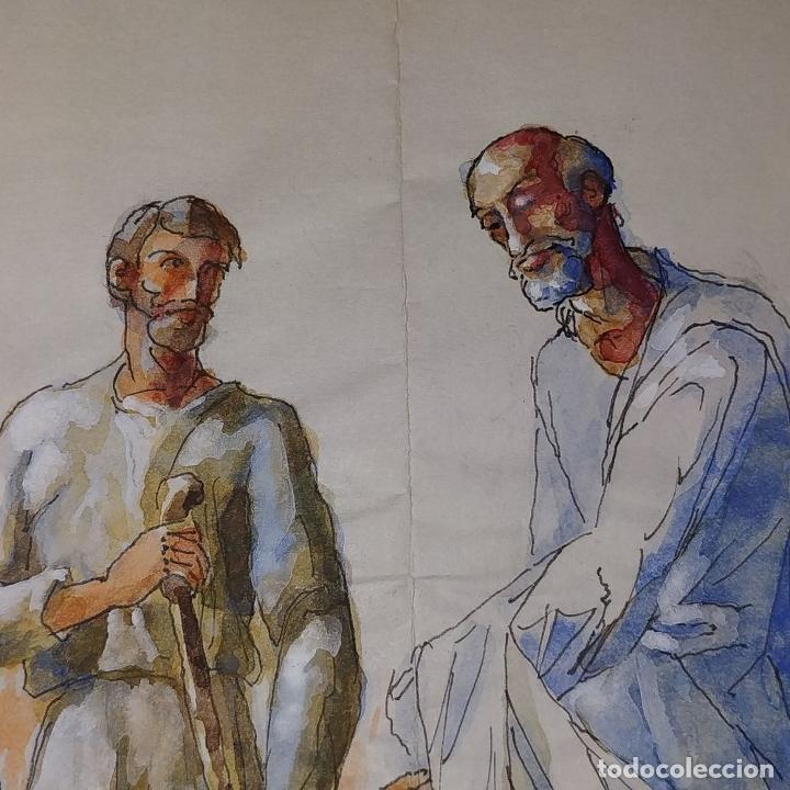 Arte: ABRAHAM Y LOS TRES ÁNGELES. ACUARELA SOBRE PAPEL. ATRIBUIDO A GORGUES. CIRCA 1950 - Foto 11 - 210934745