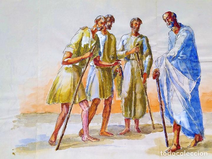 ABRAHAM Y LOS TRES ÁNGELES. ACUARELA SOBRE PAPEL. ATRIBUIDO A GORGUES. CIRCA 1950 (Arte - Arte Religioso - Pintura Religiosa - Acuarela)