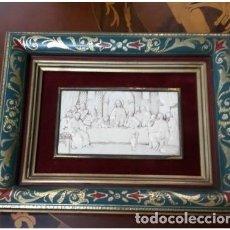 Arte: CUADRO ULTIMA CENA. PLACA HUESO TALLADA . 27 X 21 CM. Lote 211261811