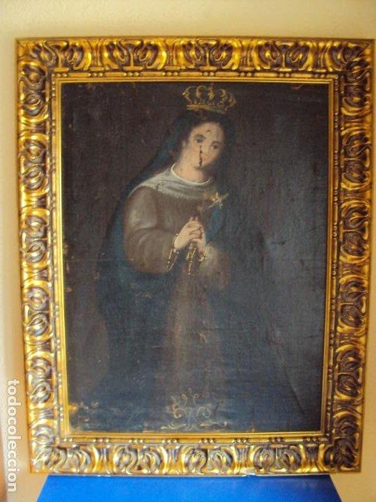Arte: (ANT-200780)OLEO SOBRE LIENZO VIRGEN DE LOS DOLORES - SIGLO XVIII - Foto 3 - 211265699
