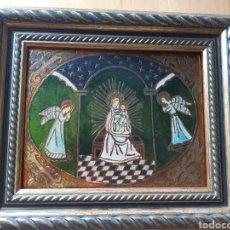 Arte: ESCENA RELIGIOSA REALIZADA ARTESANALMENTE SOBRE METAL POLICROMADO. VER DESCRIPCIÓN. Lote 211395427