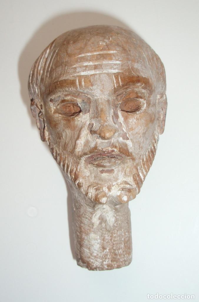 ESCULTURA. CABEZA DE SANTO. MADERA TALLADA. AUTOR DESCONOCIDO. MURCIA. SIGLO XIX-XX. (Arte - Arte Religioso - Escultura)
