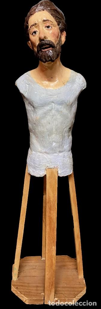 ANTIGUO SANTO, IMAGEN, TALLA DE TERRACOTA DE CAP I POTA SIGLO XIX, VESTIDERO. 57 CM ALTO (Arte - Arte Religioso - Escultura)
