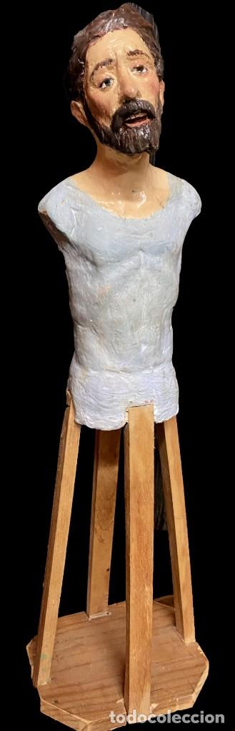 Arte: Antiguo santo, imagen, talla de terracota de CAP I POTA Siglo XIX, vestidero. 57 cm alto - Foto 3 - 184405140