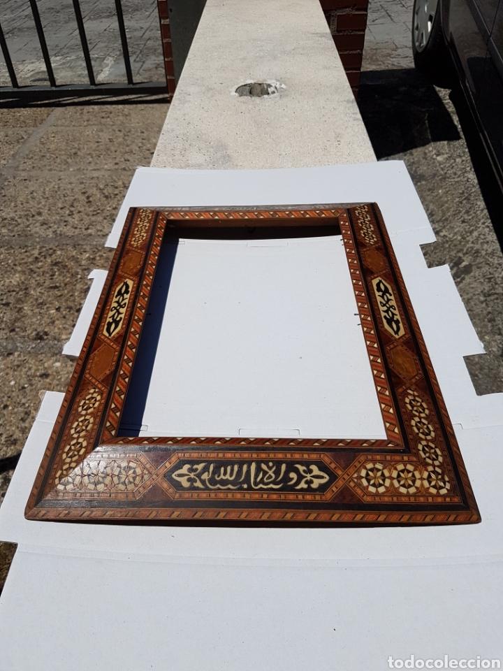 Arte: Marco hispano árabe antiguo de taracea y maderas enbutidas - Foto 2 - 211691084