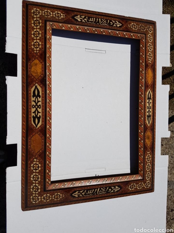 Arte: Marco hispano árabe antiguo de taracea y maderas enbutidas - Foto 5 - 211691084