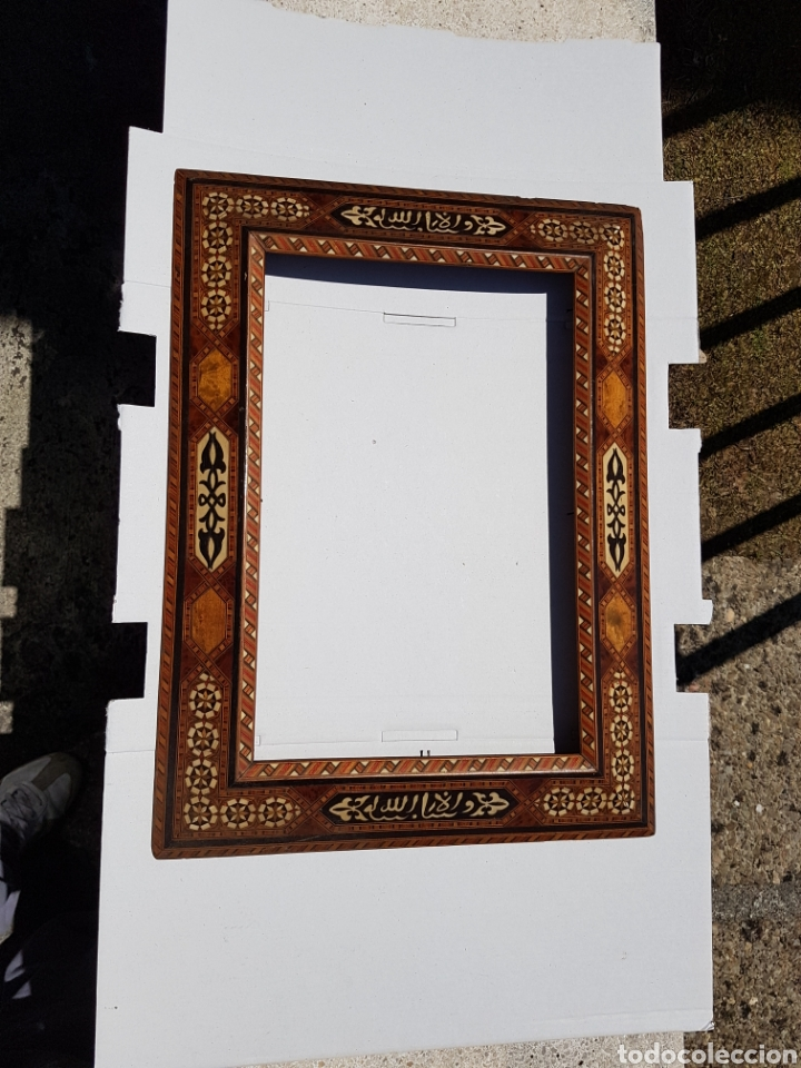 MARCO HISPANO ÁRABE ANTIGUO DE TARACEA Y MADERAS ENBUTIDAS (Arte - Arte Religioso - Pintura Religiosa - Oleo)