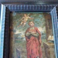Arte: ESCUELA ESPAÑOLA S.XVII-XVIII SANTA BARBARA OLEO SOBRE COBRE. Lote 211800885
