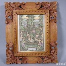 Arte: PRECIOSO PAISAJE DE BALI ARTE, MARCO MADERA TALLADO BELLAS ORNAMENTACIONES, APROX. 29,5 X 25 CM. Lote 211882951